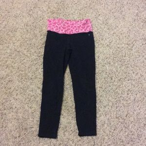 Pants - Black leggings with pink waist